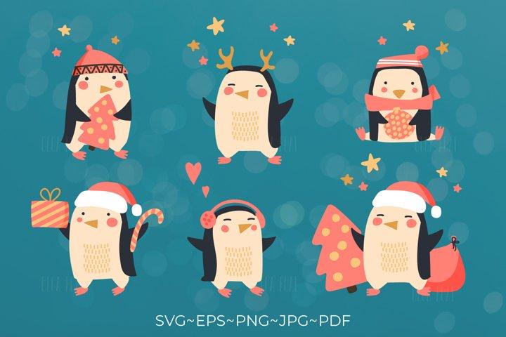 Penguin christmas. Penguin clipart. Christmas penguin bundle