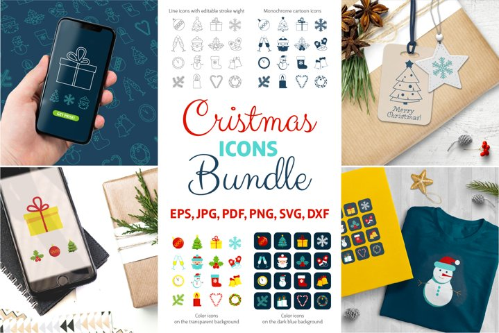 Christmas Icons Bundle | EPS, SVG, PNG, JPG | Vector Clipart