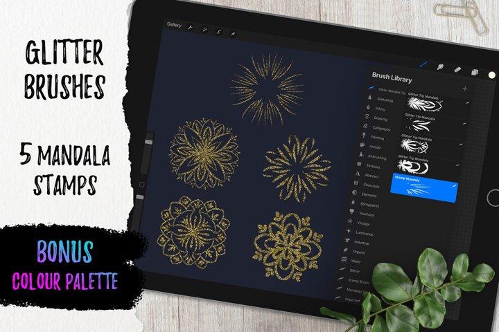 5 Glitter Mandala Tip Stamp | Glitter brushes for Procreate