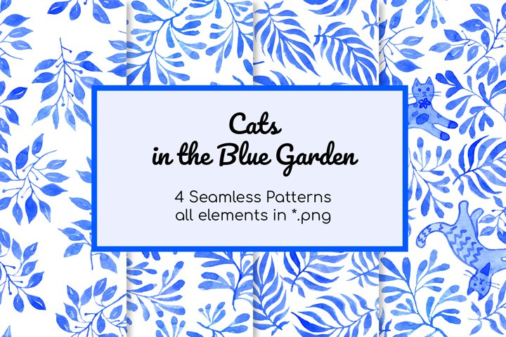 Cats in Blue Garden Patterns and elements watercolor set