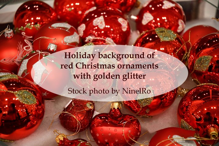 Christmas background of red ornaments with golden glitter