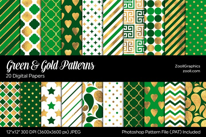 Green & Gold Digital Papers