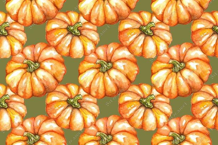 Watercolor orange pumpkin Halloween seamless pattern texture