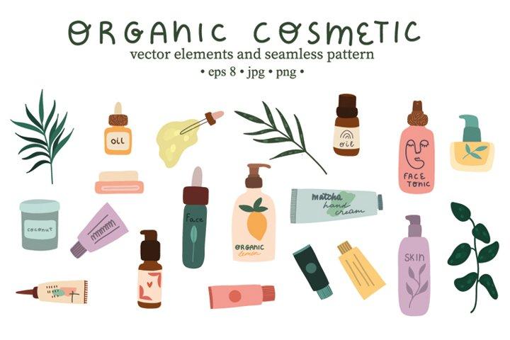 Bundle Organic cosmetic vector hand drawn illustration.