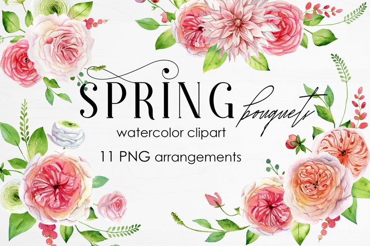 Watercolor Spring Bouquets Flowers and Roses Clipart