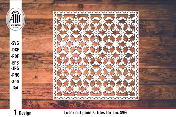 Laser cut panel, files for cnc. Snowflakes geometric pattern