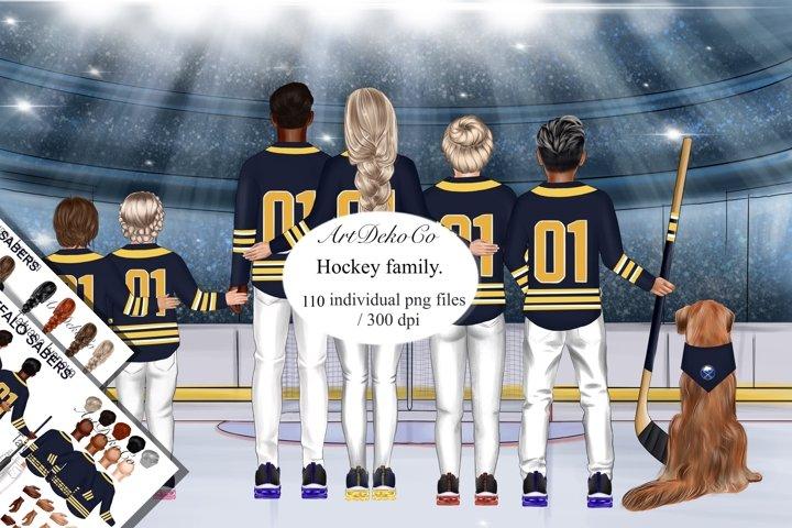Custom Clipart, Buffalo Sabers Family Portrait, Sports