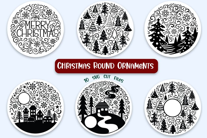 Christmas Round Ornaments - 10 SVG cut files