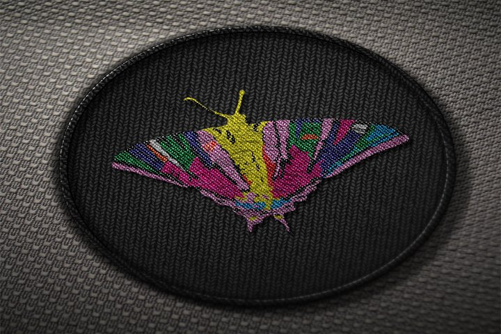 Stitch embroidery butterfly for fabric. Embroidery for jeans