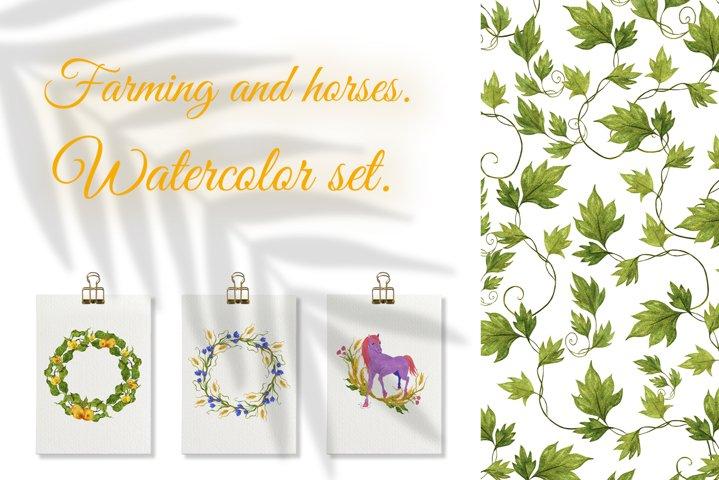 Farming and horses. Watercolor set.