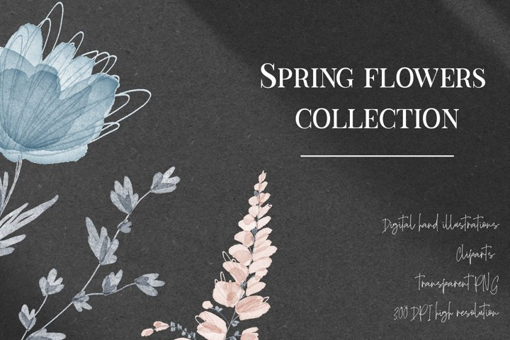 Watercolor spring flowers clip art set transparent png