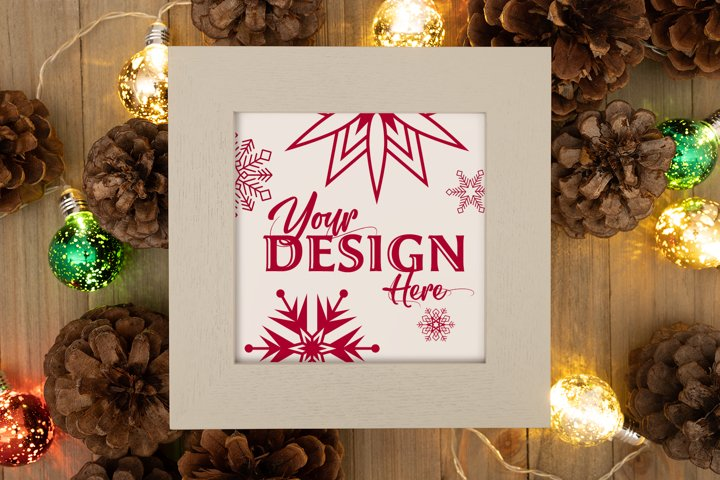 Holiday Cream Colored Frame Mockup PSD