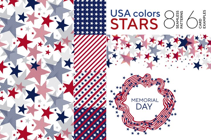 Red and blue stars vector patterns and cards
