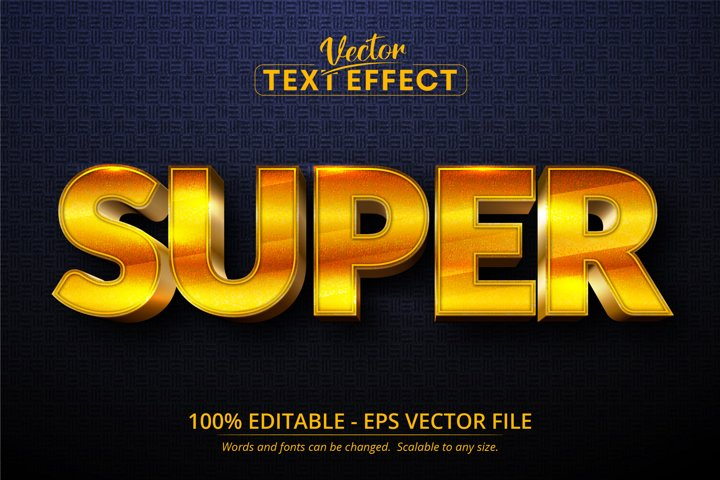 Super text, shiny golden style editable text effect