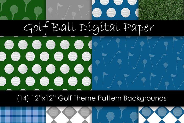 Golf Theme Digital Paper - Golf Ball Backgrounds