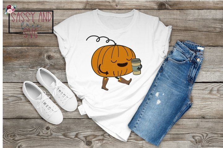 Pumpkin with Travel Coffee Cup Hand Drawn SVG, PNG, & JPEG
