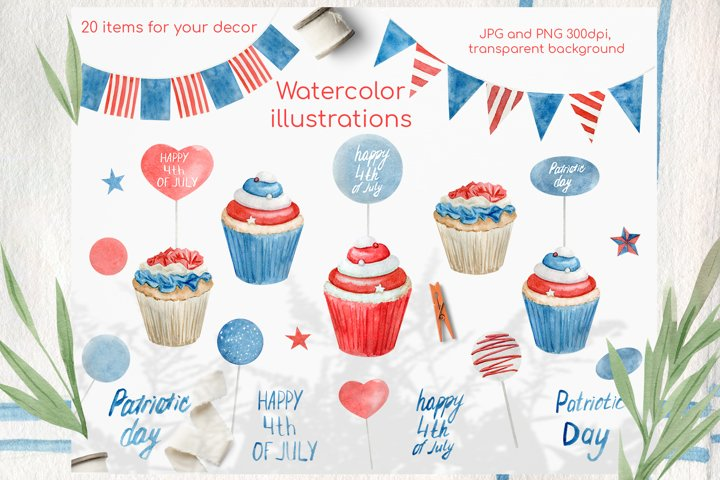 Watercolor 4th of july cupcakes clipart set example 5