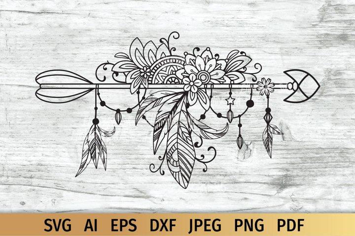 Boho svg, Arrow with flowers, mandala and feathers
