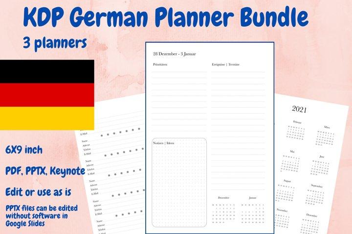 KDP German Planner Bundle 3 planners in PDF, PPTX, Keynote