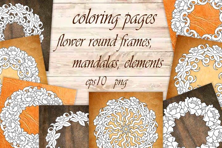 Floral frames, elements, mandalas, coloring pages