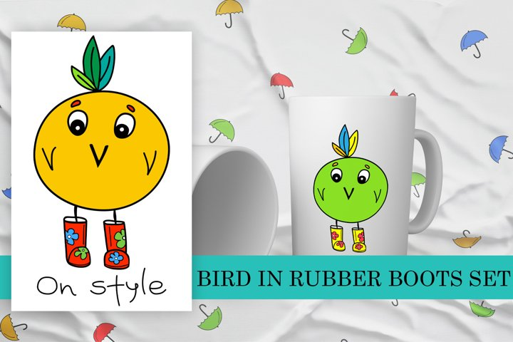 Bird in rubber boots set of pattern and illustrations