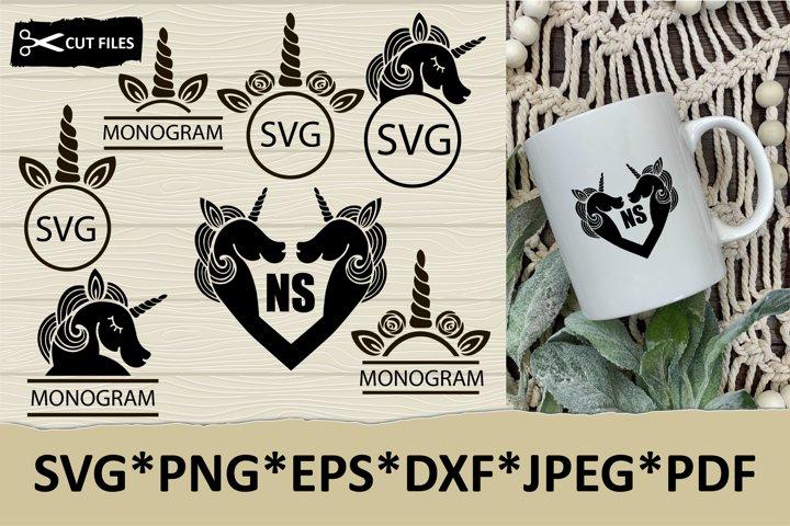 Unicorn monogram SVG, monogram frame SVG