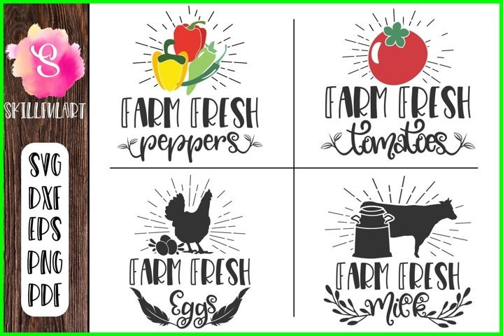 farm fresh, farm fresh eggs, milk, tomatoes, peppers, svg