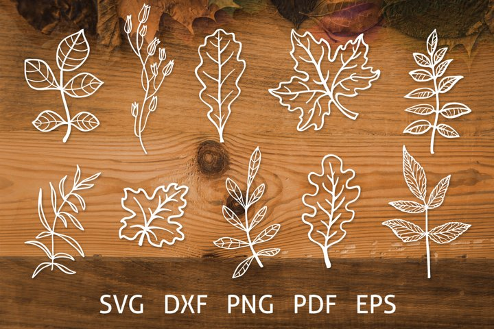 Fall Leaves Cut Files, Autumn SVG Bundle