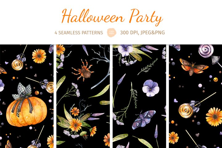 Halloween Digital Paper. Set of 4 seamless patterns
