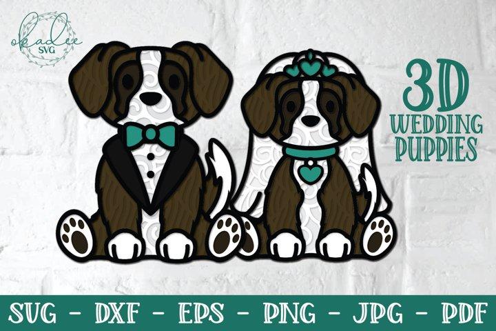 3D Wedding Puppies, Layered Dog SVG, Papercut Wedding DXF