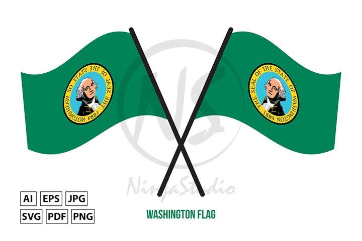 Two Crossed Waving Washington Flag Isolated White Background