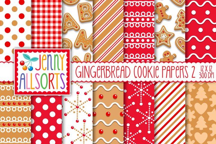 Christmas Gingerbread Cookie Patterns, digital paper pack