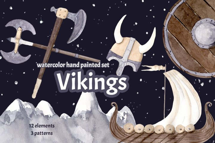 Vikings Watercolor Clipart Hand Painted Illustration Children