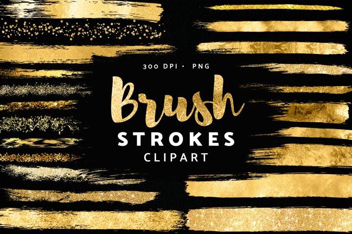 Gold Brush Strokes Clipart, Glitter Confetti PNG Clip Art