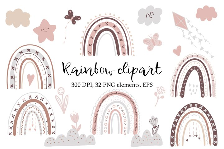 Rainbow Baby clipart in trendy warm colors PNG and EPS