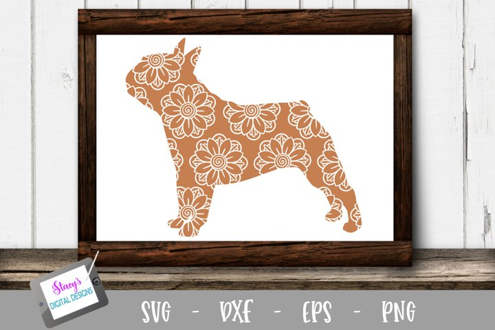 Dog SVG - Bulldog with floral mandala pattern
