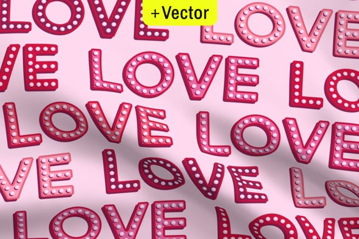 Vintage LOVE vector pattern pink Valentines light bulbs