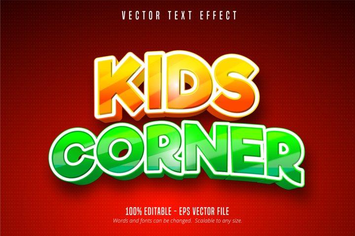 Kids corner text, comic style editable text effect