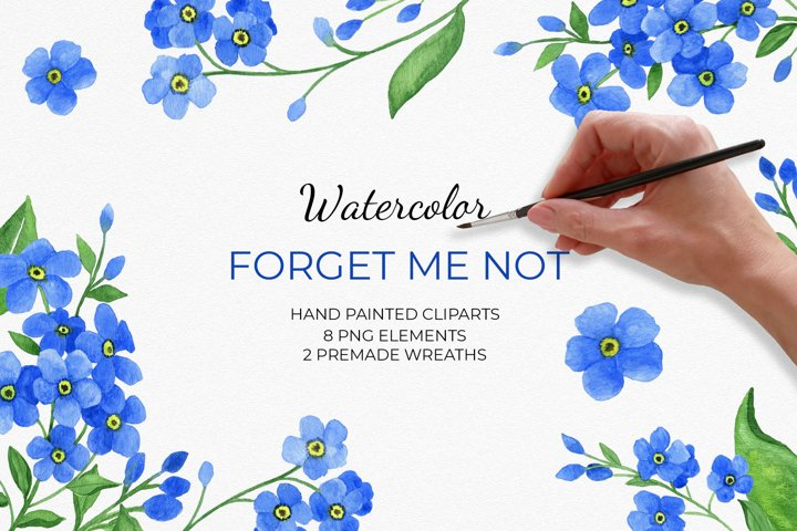 Forget me not flowers clip art set
