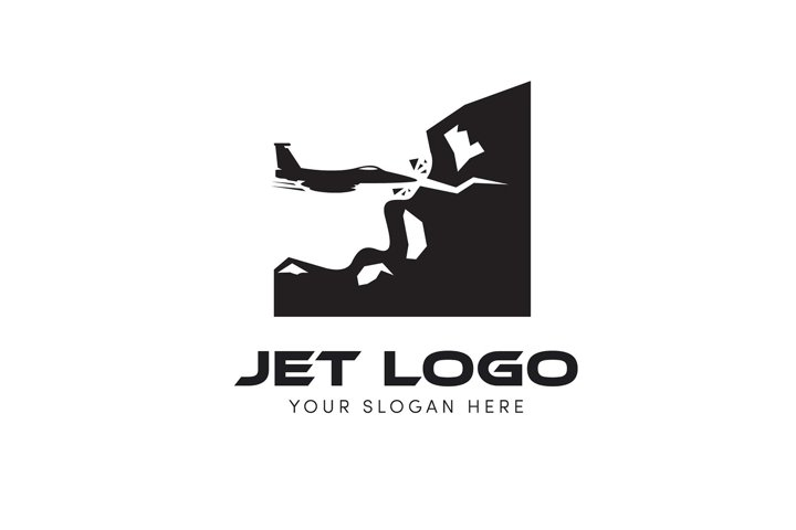 Jet logo trying to drilling the hill and mountain logo