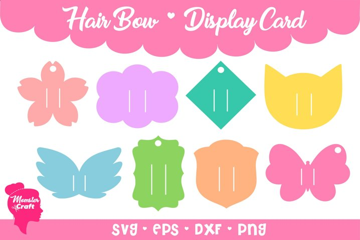 Hair Bow Clip Display Card 02 - Bundle of 8 style and 3 size