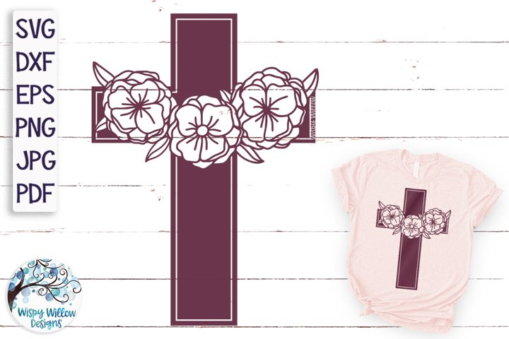 Floral Cross SVG Cut File | Cross With Flowers SVG