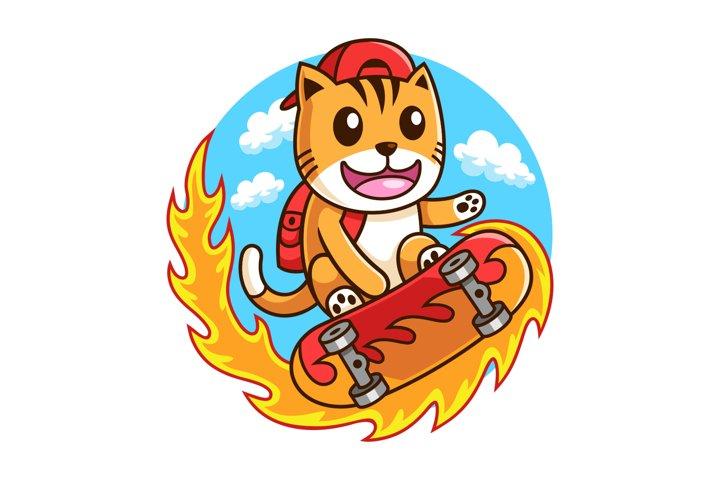 skateboarder Cat in action illustration design