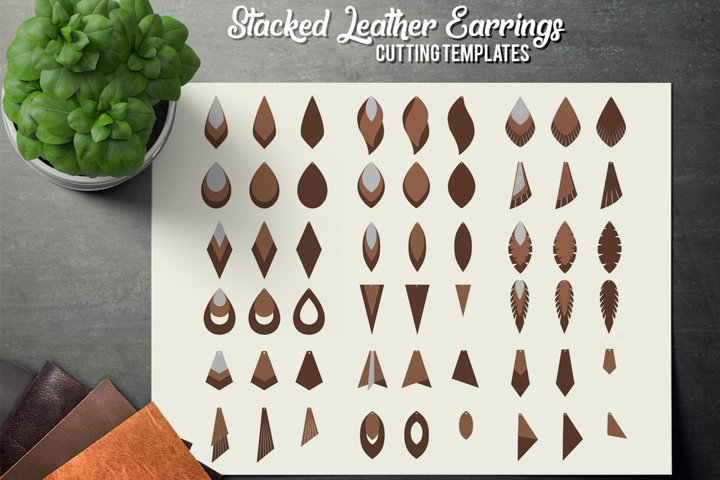 Stacked Leather Earrings SVG - Earrings Cutting Template