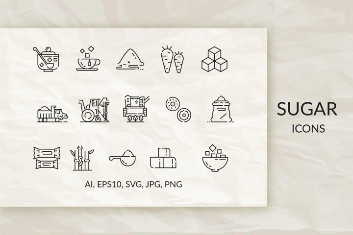 Sugar. Set of linear icons