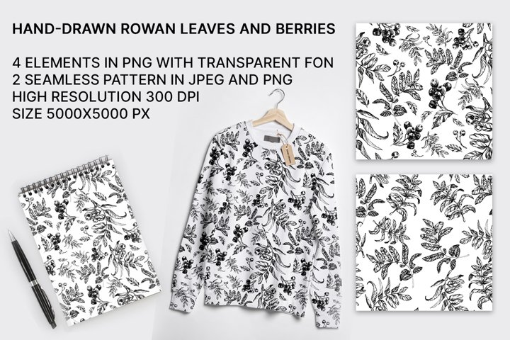 Hand-drawn rowan seamless patterns with leaves and berries
