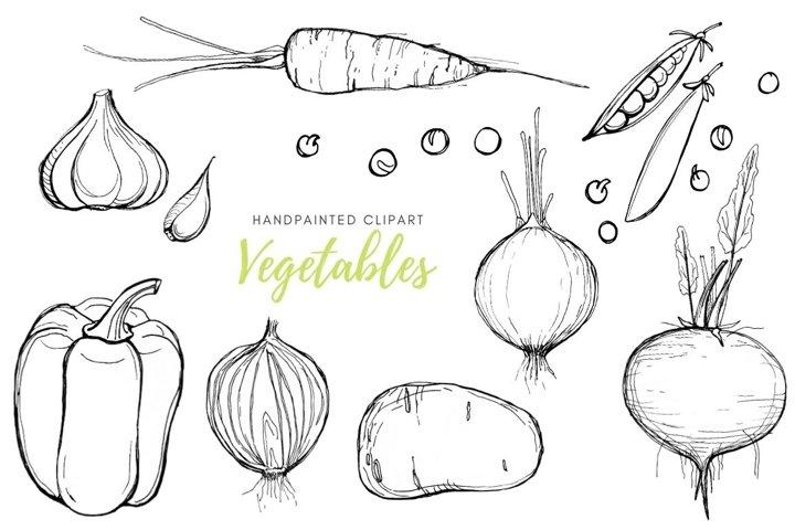 Vegetable clipart sketch set. Instant download food