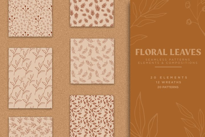 Floral & Leaves Seamless Patterns