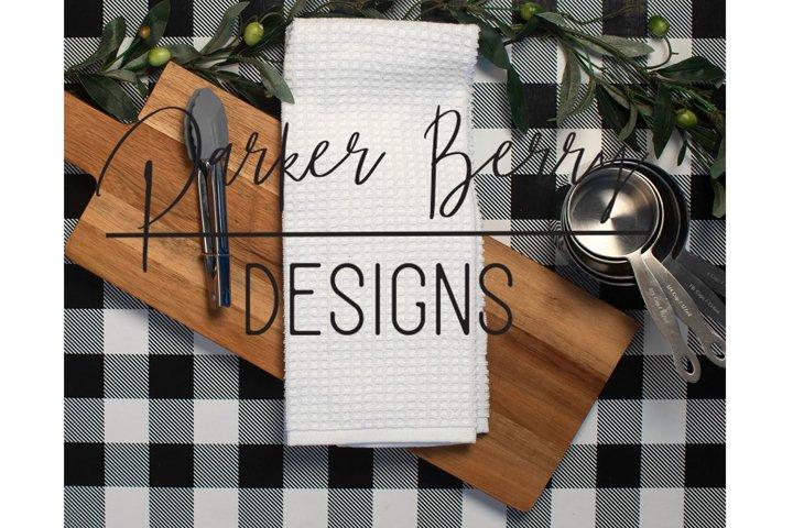 Tea Towel Waffle Weave Farmhouse Style Mockup
