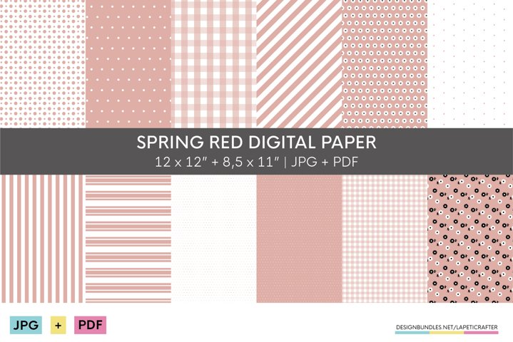 Red digital paper collection | Basic patterns for spring